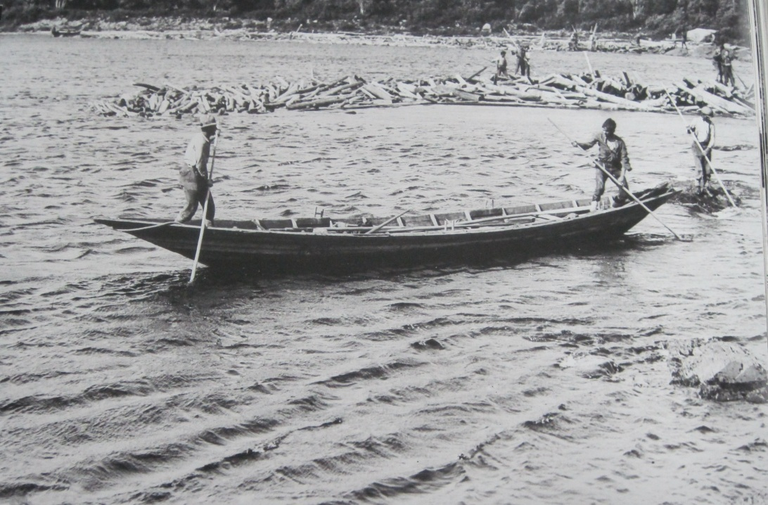 Bateau on the Exploits River Log Drive. By the time most of thee boats reached Rusy Pond they were pretty battered from logs and rocks encountered on the river. (Photo in the collection of the Grand Falls-Windsor Heritage Society. Original copyright was held by the Anglo-Newfoundland Development Company. Original Photography was likely JCM Hayward or E.I Bishop.)