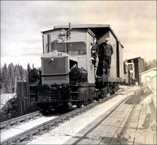 The Harpoon Tramway Crossed the Exploits River at the main dam on Red Indian Lake. (Photo from http://www.heritage.nf.ca/society/and_co_railway.html)