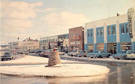 High Street in the 1960's. The Exploits Valley Royal Stores were the anchor business on the street for many years.