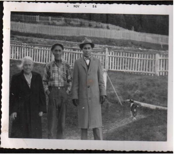 """""""Dadder and Mudder"""" with """"Uncle"""" Charlie Churchill-their nephew, 1956. Both men were members of the legion in Grand Falls."""