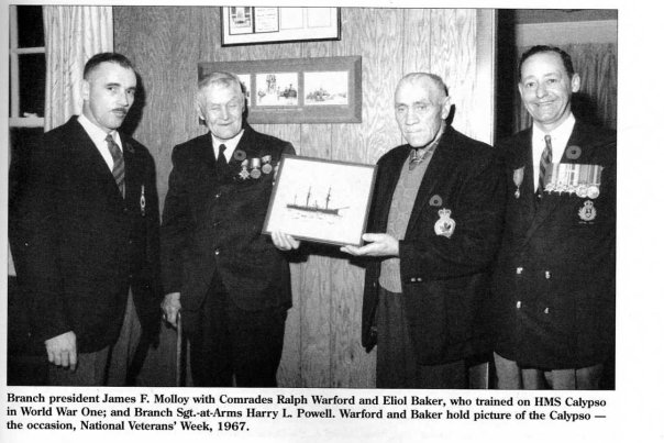 Most of the members of the Branch 12 of the Royal Canadian Legion were veterans of the Royal Newfoundland Regiment. Naval veterans of the First World War included Eloil Baker, Ralph Warford and John Burke.
