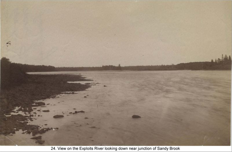 Exploits River near Sandy Brook. What the Exploits looked like when they were driving pine on it.  This photo would have been in the vicinity of Mr. Lemottes Camps.