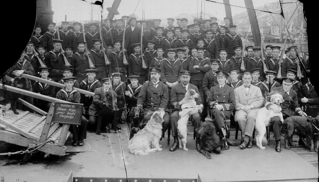 What I believe to be either the  RMS Franconia draft or the 1912 Royal Naval Reserve Trainees. Newfoundland Sailors on the war to War 1914. Eliol Baker is situated towards the right middle of the photo. Also in the same picture is Johnny Welsh of Bishop's Falls who also enlisted in 1912.(Provincial Archives of Newfoundland and Labrador)
