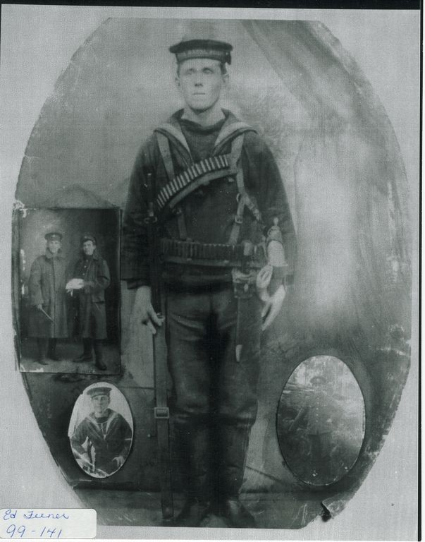 Joe Thompson Aged about 18-23 years as a Naval Reservist on the HMS Calypso. Despite being armed to the teeth Thompson was discharged from the Navy two years prior to World War One. (Point Leamington Heritage Society/Virtual Museum)
