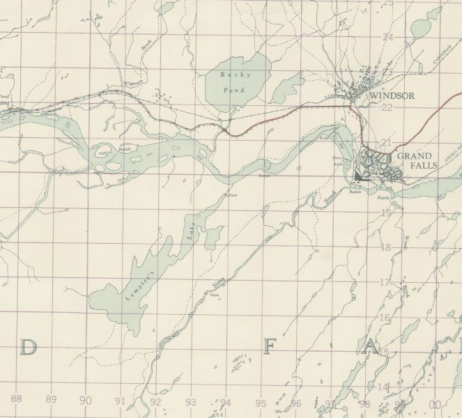 LeMottes Lake from a 1950 Map. At the time you had to cross the river by boat to get into the lake. (Map from  Memorial University DAI)