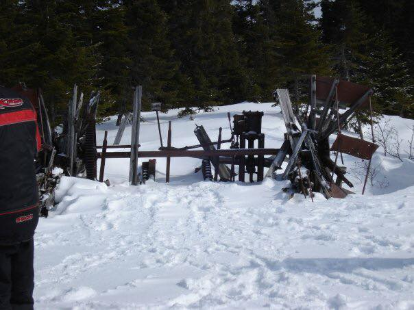 Remains of a paddle wheel tug at Rogerson Lake in Millertown Division.