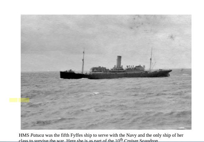 For three years Eliol Baker served aboard the Armed Merchant Cruiser HMS Patuca, sailing between Scotland, The Faroe Islands and Iceland.