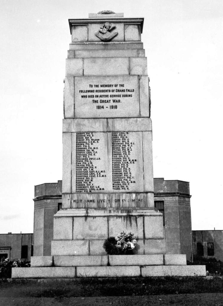 The Cenotaph in Grand Falls-Windsor is replica of the one located in London. Today in addion to the names of those killed in World War One It also bears the names of those that lost their lives in the Second World War and the Korean Conflict.