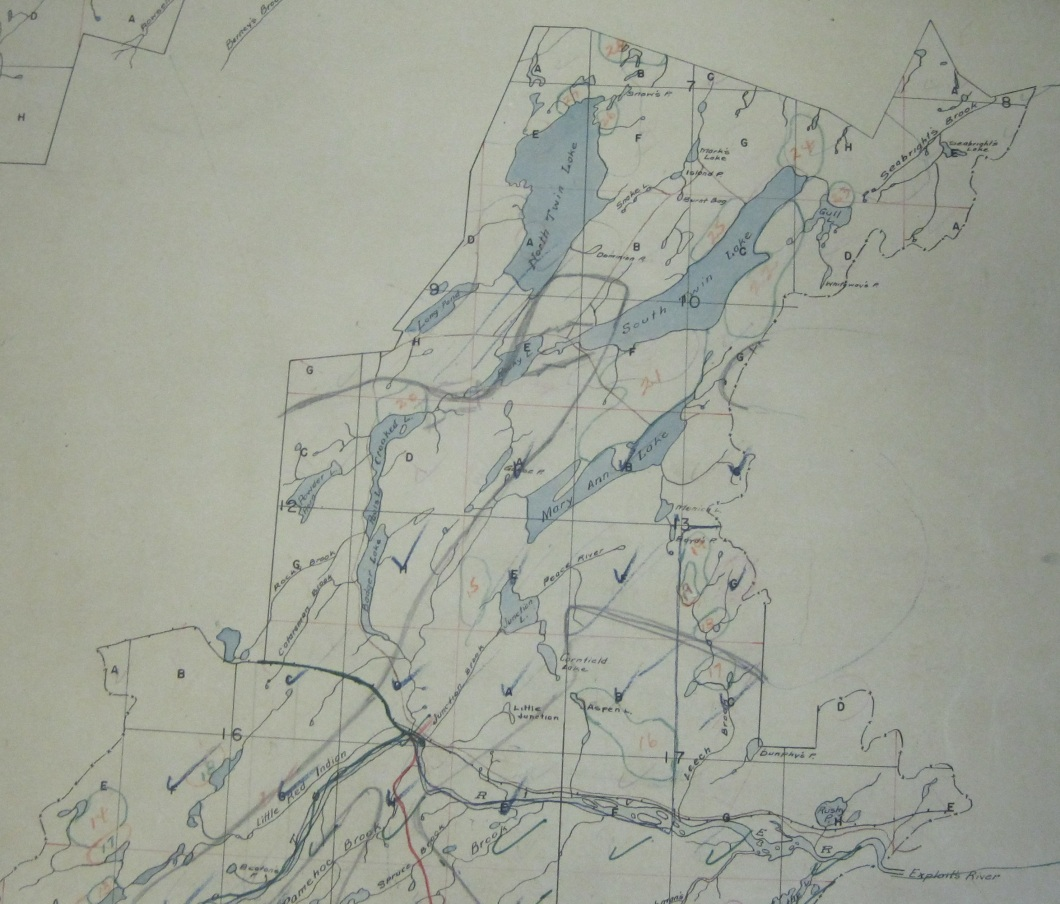 Badger Lakes and the Twin Lakes. The Anglo-Newfoundland Development Company opened up most of Central Newfoundland and contributed to the naming of many landmarks. As late as 1904 Twin Lakes visible at top had not been mapped. (Anglo-Newfoundland Development Company / Grand Falls -Windsor Heritage Society.