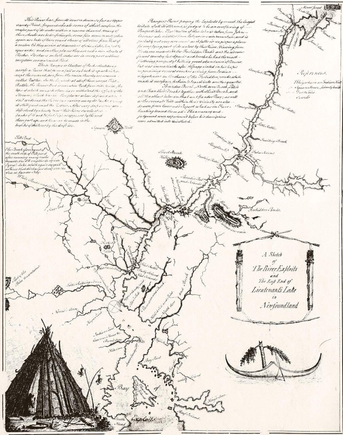 Cartwright's Map of the Exploits River Circa 1770. Many of the place names noted here did not survive into the 20th Century, some like Great Rattling Brook did. (Source: http://www.heritage.nf.ca/exploration/river_large.html)