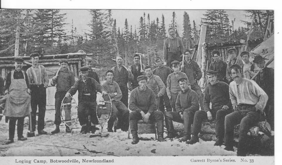 Crew of Exploits Lumber Company Lumber Camp. This company operated as far as Twin Lakes and established a depot at Badger in the 1890's.