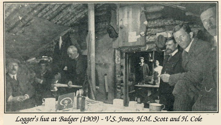 AND Co managers and a clergyman at a logging camp circa 1908-1911. Vincent Jones on the far right.  Vincent Jones came to Newfoundland in the very early years of the AND CO and became the superintendent o the mill around 1910 succeeding Mayson Beeton in this capacity.
