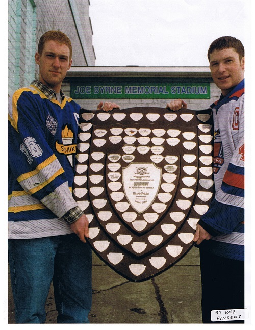 The rivalry ended up lasting for over 50 as evident from the additions to the trophy. This picture was taken at the time of it's retirement in 1998. (GFWHS-via NL Hockey History)