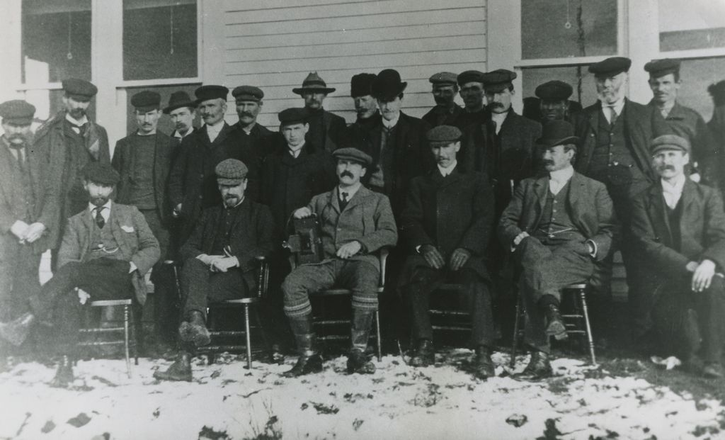 Anglo-Newfoundland Development Company management and supervisory staff during mill construction. Most of the men in this picture have streets named for them.