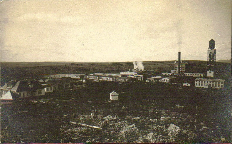 The A.N.D General Office located at far left was one of the first buildings to built at Grand Falls. It later became the Daily mail Library.