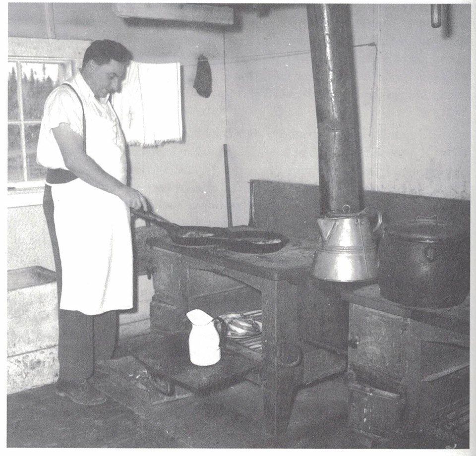 Mr. Douglas Reccord of Victoria Cove, NDB. Cooking at a camp in the Lake Wilding area of Millertown Division sometime in the 1940's. I had the opportunity to interview Mr. Reccord ten years ago about his experiences as a camp cook for over forty years. He started at his brothers camp on Lake Wilding in 1934 or 35 and finished up at Rocky Brook Camp in the 1970's.