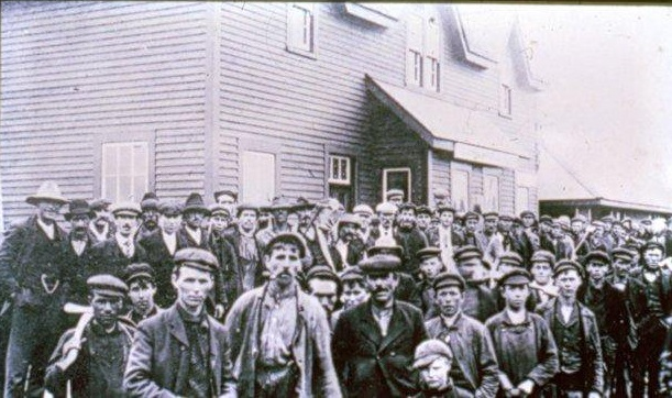 Construction Workers at Grand Falls Station 1906. Hundreds of men and boys flocked to Grand Falls from the outports to take advantage of good paying construction jobs.