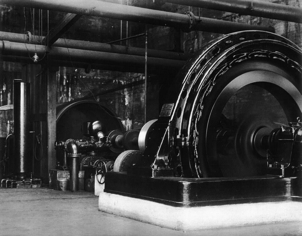 Turbines at Bishop's Falls 1911-15. Altough pulp production ended around 1951 there is a still a generating station at Bishop's Falls.