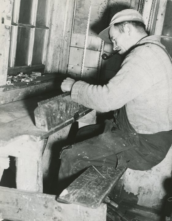 When camps were cutting a full time saw filer was needed to keep bucksaw blades sharp. Sharpening and setting saw teeth was a job that required quite a bit of skill.