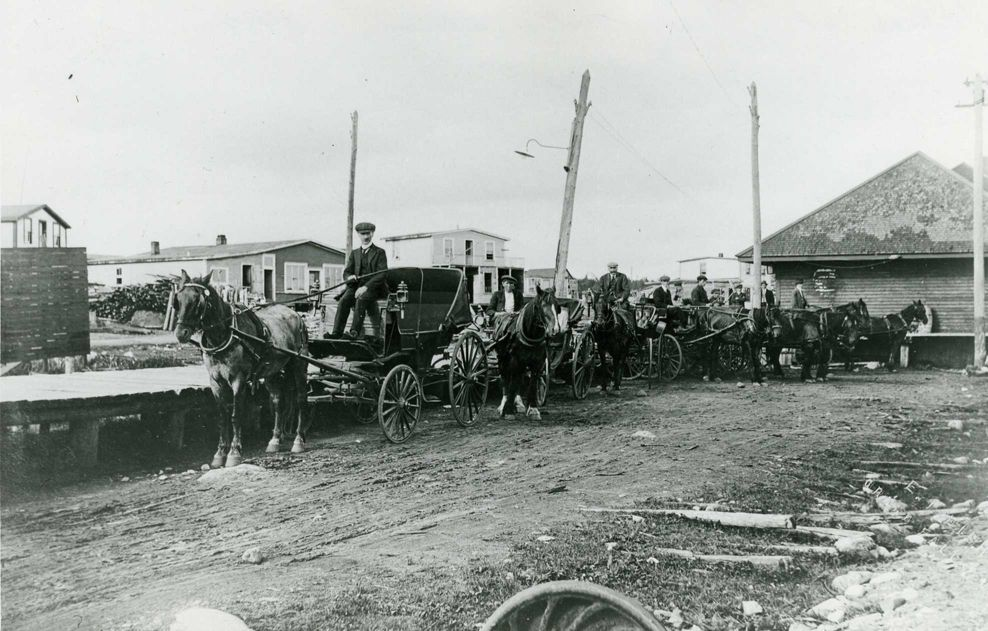 Goodyear's Horse teams at Grand Falls Station Circa 1910. The Goodyear family provided the first taxi service between the Station and the Grand Falls town site. Some of the early Businesses in Windsor Can be seen in the Background. (GFWHS)