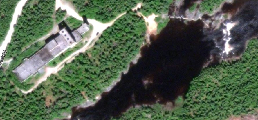 Satellite photo of the area today. The is located within the town of Glovertown.