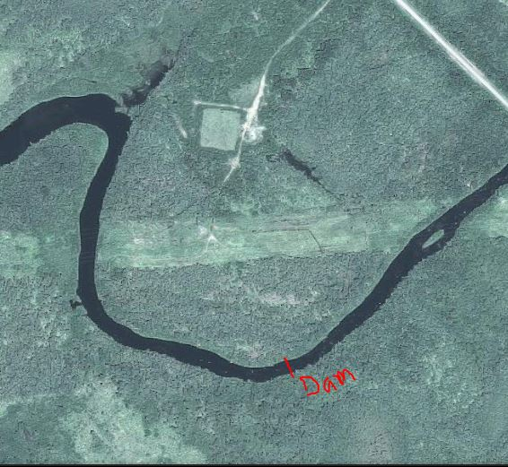 The area in question where the sawmill was most likely located. I have noted where a dam was located on a 1929 survey map.
