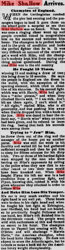 Evening Telegram (St. John's, N.L.), 1905-07-12 Mike Shallow Arrives.