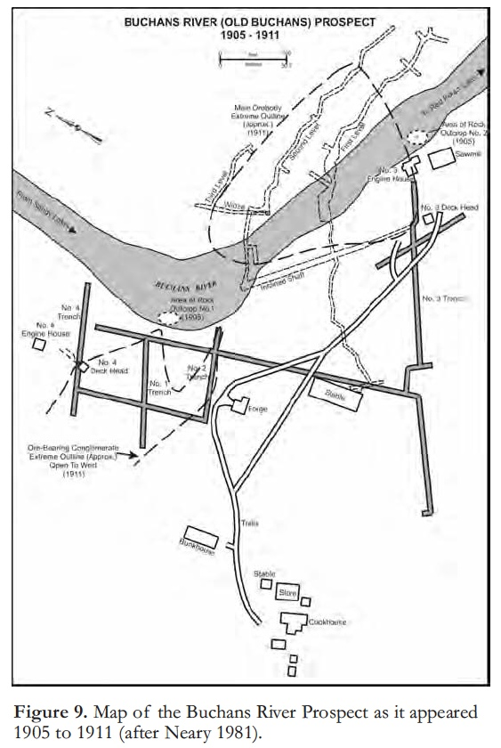 Layout of the original Buchan's mine 1905-1911. There was a rich deposit, but the minerals were too difficult to smelt profitably at that point. Things would change by the 1920's .