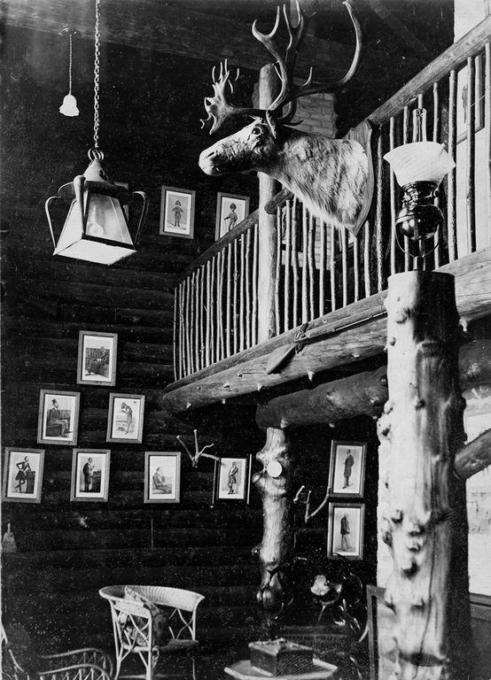 Rare interior shot of the interior of the Log House.