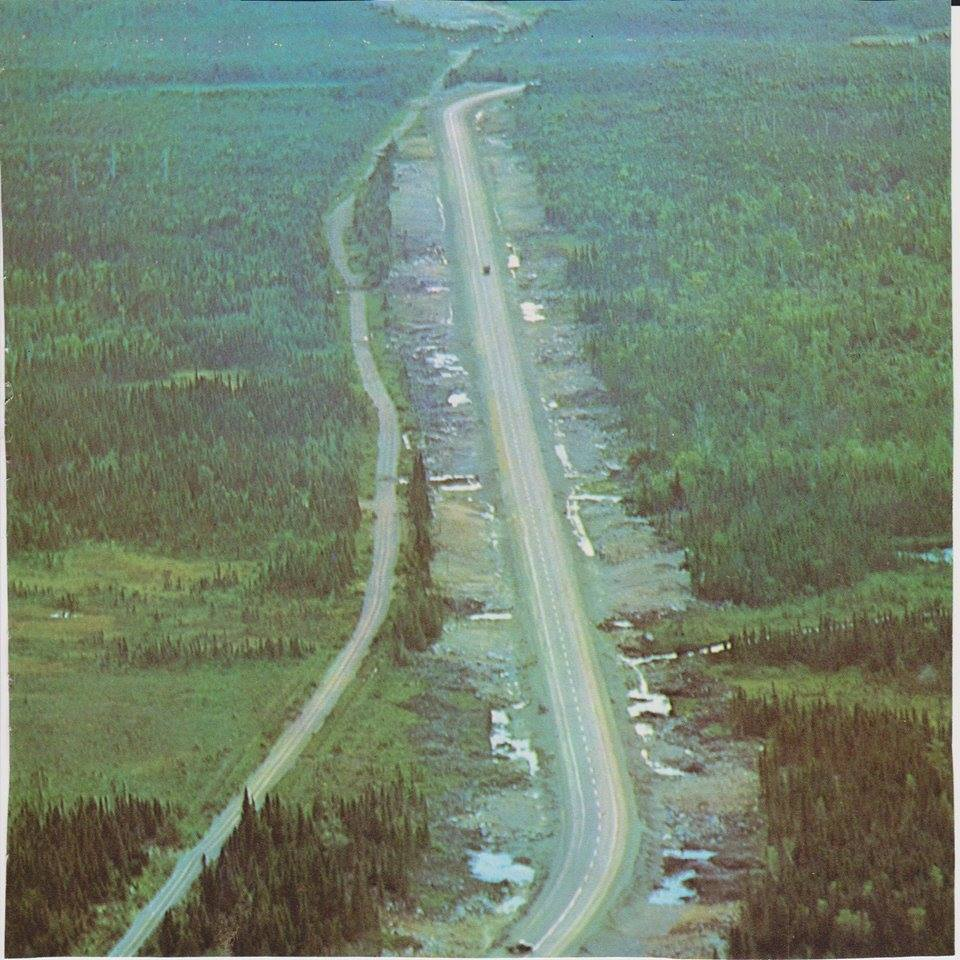 This shot of Halls Bay line and the Trans-Canada Highway running parralell to each other provides in interesting Juxtoposition of pre and post-confederation roads in Newfoundland. (From Canada's Happy Province, 1966)