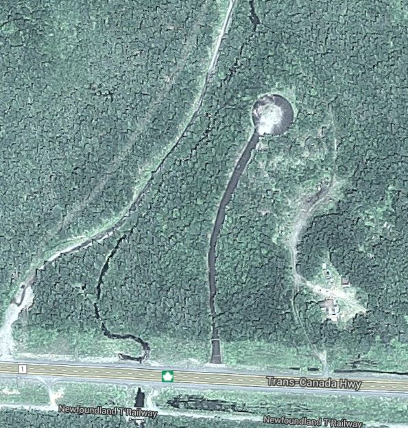 Satellite image of the area where Pearson's Peak once stood.