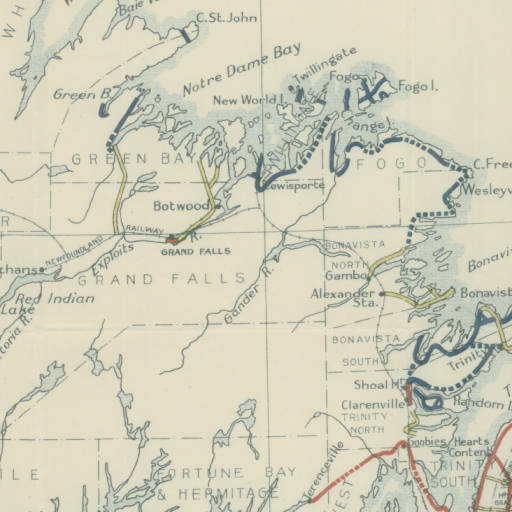 Roads in Newfoundland 1933 from the Amulree Report. Safe to say you could not drive accross the island. 20 years later the empty gaps along the raods were only partially filled in. (http://collections.mun.ca/cdm/singleitem/collection/maproom/id/8/rec/38)