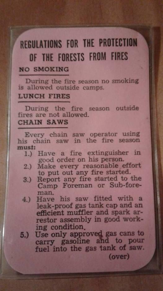 Fire regs card