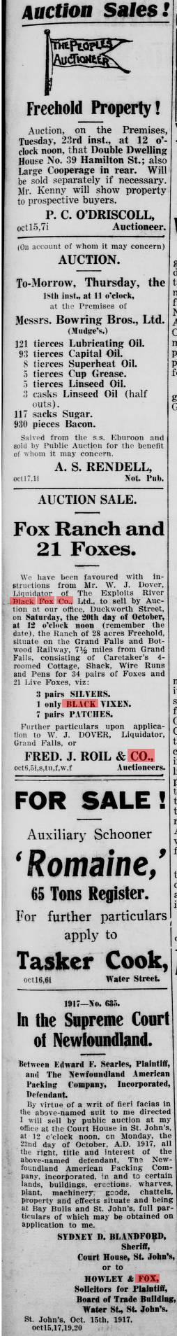 Evening Telegram (St. John's, N.L.), 1917-10-17 Adv. 3 Page 21 fox farm sale 1917.jpg