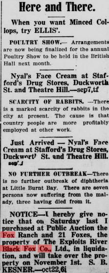 Evening Telegram (St. John's, N.L.), 1917-10-24 Adv. 43 Page 7 Fox Farm kesner