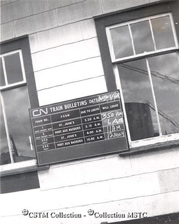 Bishop's Falls station sign 1964
