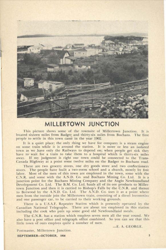 Millertown Junction AG Sept Oct 1956.